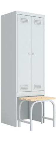 Шкаф металлический с выдвижной скамьей